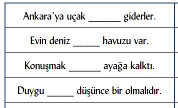 edat 4. Sınıf Türkçe Edat ve Bağlaç Test Çöz