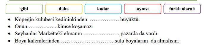 karsilastirma 4 4. Sınıf Türkçe Karşılaştırma Cümleleri Test Çöz
