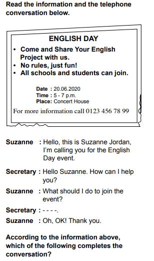 2020 ing 9 2020 LGS İngilizce Soruları Çöz Online