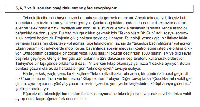 2018 turkce 5 2018 LGS Türkçe Soruları Çöz Online