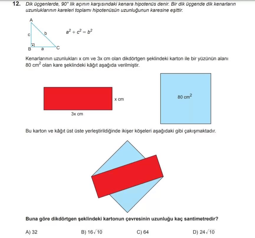 2021 lgs matematik sorulari 12 2021 LGS Çıkmış Matematik Soruları Çöz - PDF