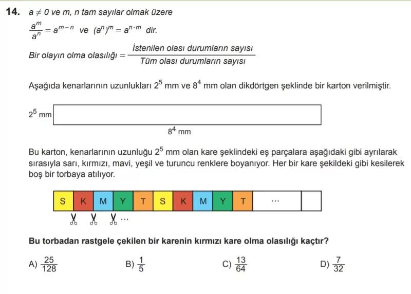 2021 lgs matematik sorulari 14 2021 LGS Çıkmış Matematik Soruları Çöz - PDF