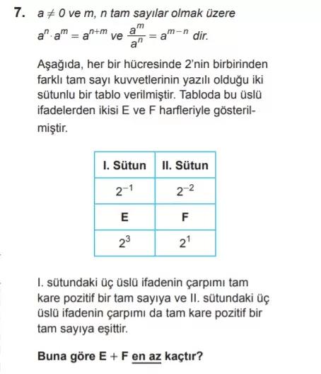 2021 lgs matematik sorulari 7 2021 LGS Çıkmış Matematik Soruları Çöz - PDF