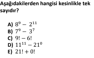 1 1 Tek ve Çift Sayılar Test Çöz Online -1 (TYT KPSS DGS ALES)